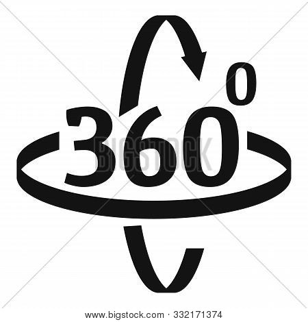 360 Degrees Rotation Icon. Simple Illustration Of 360 Degrees Rotation Vector Icon For Web Design Is