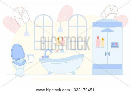 Modern Bathroom Interior With Bath Tub, Toilet, Shower Stall And Washbasin. Lavatory Hygiene Sanitar