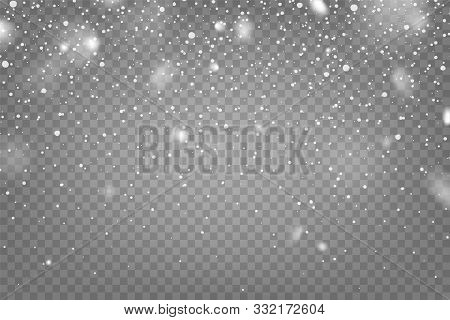 Realistic Falling Snow With Snowflakes And Clouds. Winter Transparent Background For Christmas Or Ne