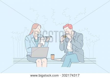 Busy Employees Meal Time Concept. Colleagues Having Meal Together, Office Workers At Lunch Break, Qu