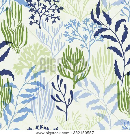 Coral Reef Seamless Pattern. Kelp Laminaria Seaweed Algae Background. Undersea Reef Flora Pattern. M