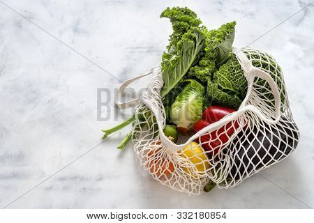 Zero Waste Concept. Vegetables And Friuts In Net Bags