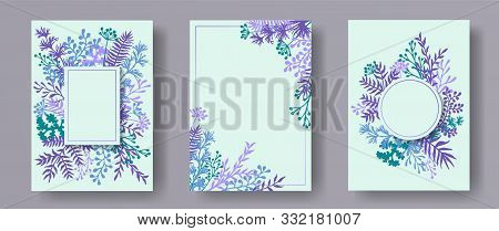 Botanical Herb Twigs, Tree Branches, Leaves Floral Invitation Cards Templates. Herbal Corners Elegan