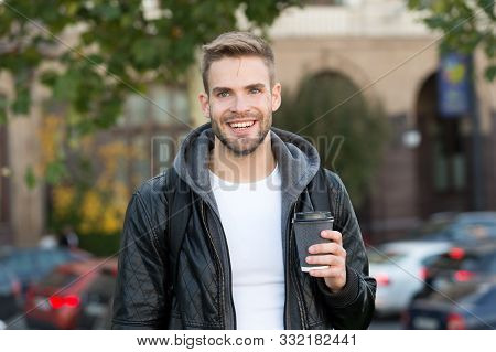 Happy Morning. Hipster Hold Paper Coffee Cup. Coffee Break. Drink It On Go. Man Smiling Cheerful Hip