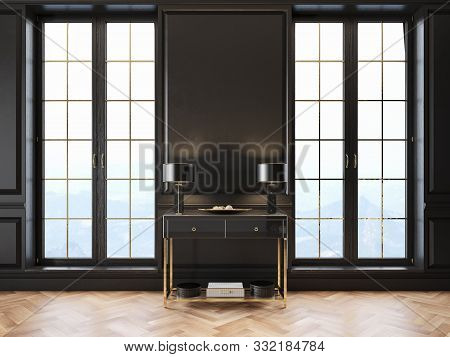 Black Classic Interior With Dresser, Table Lamp, Moldings, Window And Wooden Floor. 3d Render Illust