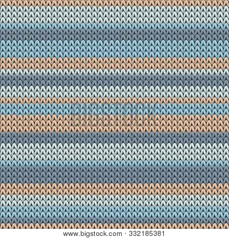 Fluffy Horizontal Stripes Knitted Texture Geometric Seamless Pattern. Ugly Sweater Knit Tricot  Fabr