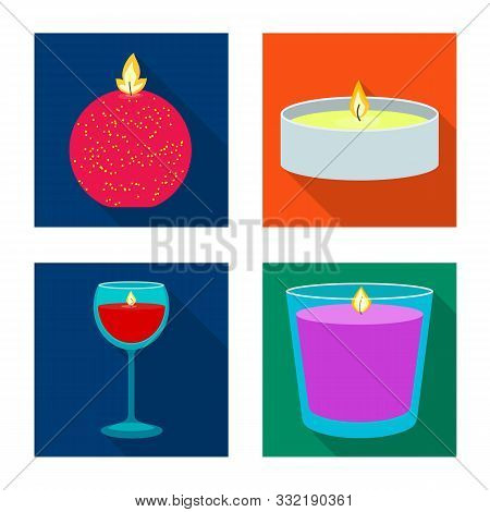 Isolated Object Of Candlelight And Decoration Sign. Set Of Candlelight And Flame Stock Vector Illust