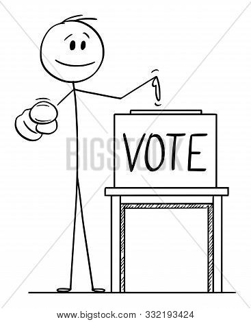 Cartoon Stick Figure Drawing Conceptual Illustration Of Man Pointing At Voter Or Elector, And On Bal
