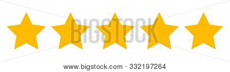 Five Star Rating Icon. Rating Stars - Vector. Flat Stars Isolated