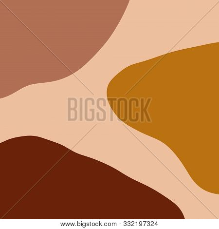 Modern Abstract Shapes And Plants Terrae Modern Geometric Texture Poster Terracotta Floral Art Print