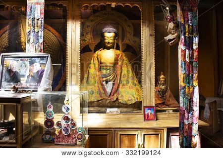 Inside And Interior Design With Angel God Buddha Statue Of Leh Stok Palace For People Visit And Pray