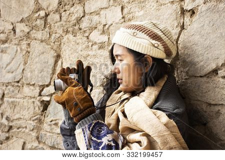 Travelers Thai Women People Travel Visit And Take Photo View Landscape Of Leh Ladakh Village From Vi