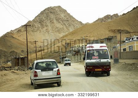 Jammu Kashmir, India - March 20 : Indian People Drive Car On Street Go To Leh Stok Palace For Bring