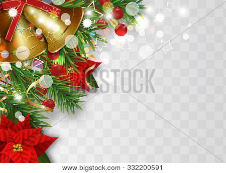 Christmas Border Decorations With Fir Branches, Golden Bells, Christmas Flowers Poinsettia, Holly Be
