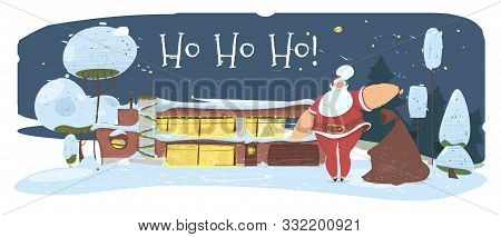 Magic Night In Christmas Eve. Santa Claus With Big Bag Stand In Front Of House Decorated With Lighti