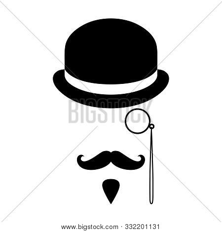 Person Graphic Icon. Man With Moustaches, Beard, Monocle And Bowler Hat. Graphic Sign Isolated On Wh