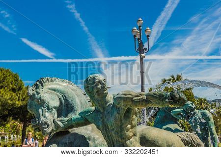 Nice Cote D Azur. France. June 20 2019. A View Of A Statue At The Fountain Of The Sun In Nice In Cot