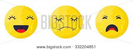 Vector. Set Of Smiley Icons Isolated. Different Cute Smiley.