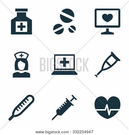 Antibiotic Icons Set With Drug, Nurse, Thermometer And Other Cure Elements. Isolated Vector Illustra