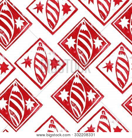 Seamless Pattern With Red  Christmas Decorations Isolated On White Background. Hand Made Linopcut. E