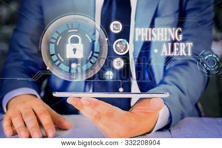 poster of Writing note showing Phishing Alert. Business photo showcasing aware to fraudulent attempt to obtain sensitive information Picture photo network scheme with modern smart device.