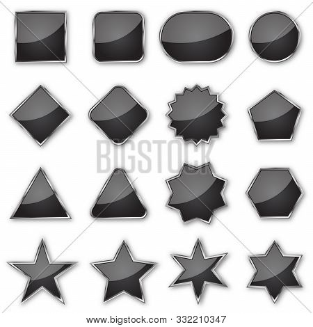 Set Of Black Glossy Banners Isolated. Vector Plates Of Different Shapes. Glossy Buttons With Metal C