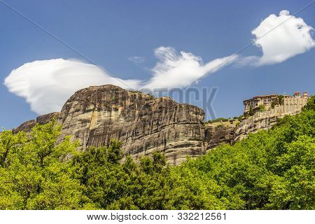 Scenic View Of Meteora Valley With Rock Formations And The Holy Monastery Of Varlaam, Part Of The Ea