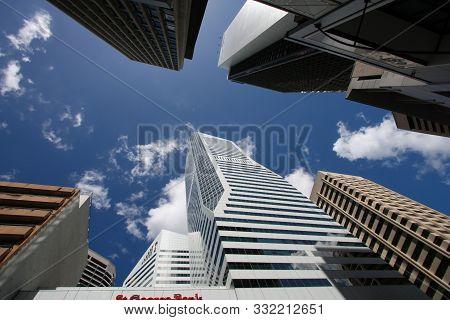 Brisbane, Australia - March 22, 2008: Street View Of Office Buildings In Brisbane, Australia. Brisba