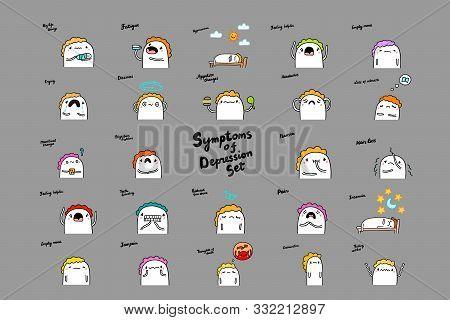 Bif Depression Symptoms Set Hand Drawn Vector Illustrations With Cartoon Comic People Man Sad Dull L