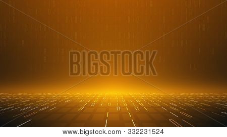 Golden Color Binary Code Vector Background,abstract Perspective Virtual Cyberspace,big Data Analysis