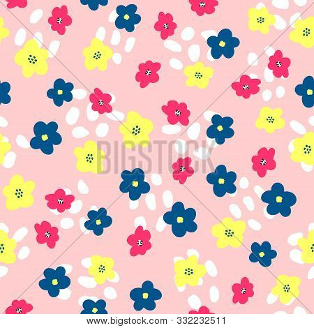 Cute Floral Seamless Pattern. Feminine Print With Abstract Shapes And Flowers Drawn By Hand. Vector