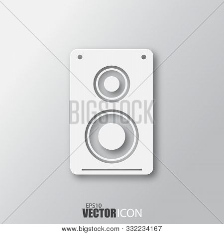 Speaker Icon In White Style With Shadow Isolated On Grey Background.