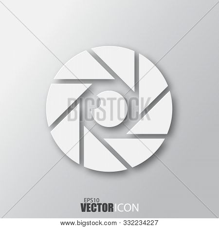 Diaphragm Icon In White Style With Shadow Isolated On Grey Background.