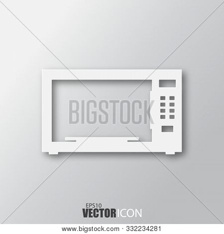 Microwave Icon In White Style With Shadow Isolated On Grey Background.
