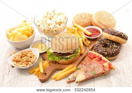 assorted of fast food, junk food, american food