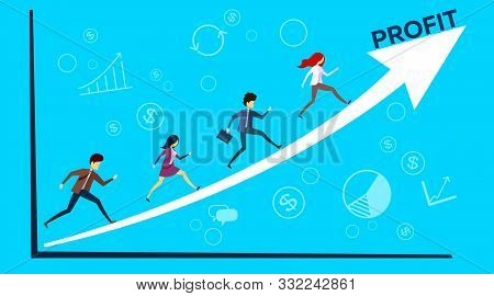Teamwork Concept. Little Business People Together Trying To Climb Up Stairway By Indicator Of Growth