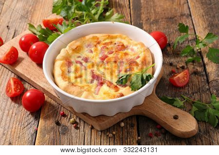 quiche, homemade quiche with cream, egg and bacon
