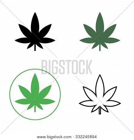 Cannabis, Marijuana Leaf Line Icon. Set Of Cannabis Icons. Vector