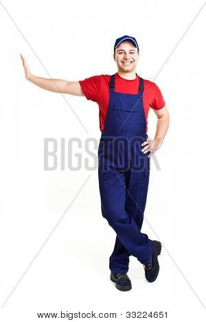 Friendy worker leaning on a imaginary wall