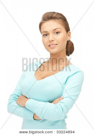 bright picture of happy and smiling woman.