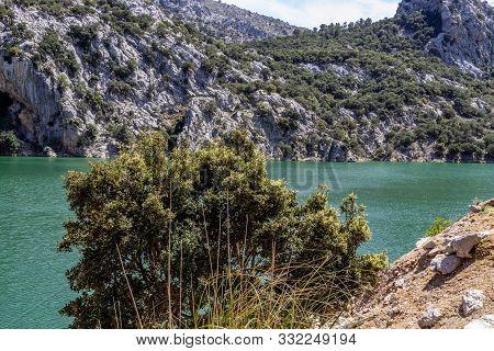 Damned lake, water reservoir Gorg Blau on balearic island Mallorca, Spain