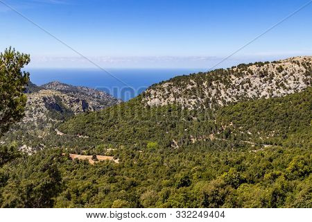 Scenic View at landscape between Gorg Blau and Soller on balearic island Mallorca, Spain