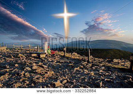 Glowing Cross . All Alone . Seclusion Renunciation Of The World . Faith In God. Prayer At The Top Of