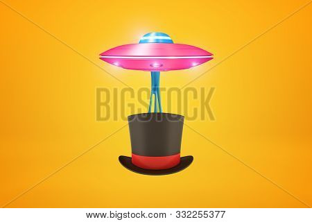 3d Rendering Of Pink Ufo Carrying Black Tophat With Red Ribbon Below It On Amber Background.