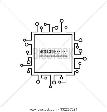 Abstract Square Banner With High Tech Circuit Board Texture. Vector Electronic Motherboard Illustrat
