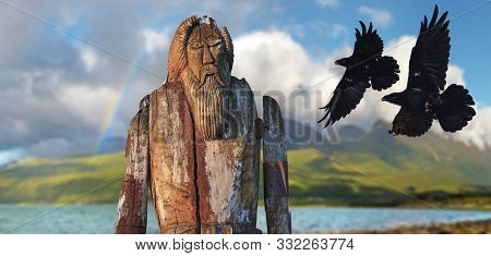 Odin Made Of Wood And Two Horns Of Huginn And Munin In Flight