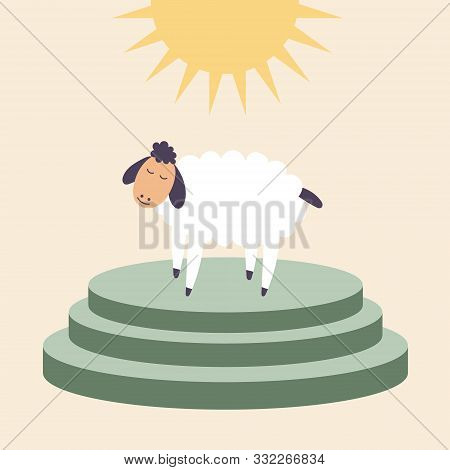 A Sheep Stands On The Altar For Sacrifices.  Brings In Sacrifice Pet. Worship Of God. Vector Editabl