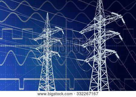 Electric Power Transmission Line Towers On Current Sinusoidal Diagram Background. Blueprint Line Art