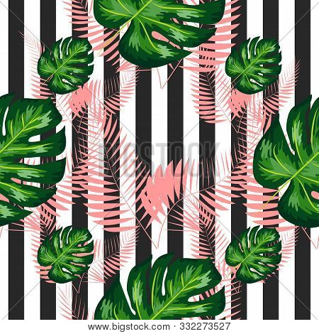 Exotic Seamless Pattern With Monstera Palm Leaves. Tropical Hawaiian Textile Botanical Design. Flora