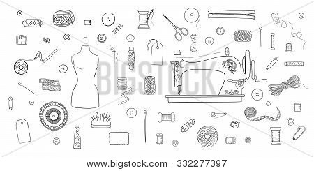 Ink Pen Set Of Objects For Sewing, Handicraft. Sewing Tools And Sewing Kit And Equipment, Tailor Sho